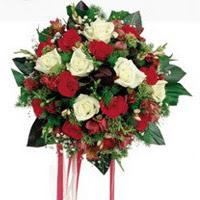 online Bursa ucuz çiçek gönder  6 adet kirmizi 6 adet beyaz ve kir çiçekleri buket