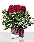 Bursada çiçekçi osmangazi çiçek , çiçekçi , çiçekçilik  11 adet gül mika yada cam - anneler günü seçimi -