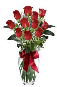 11 adet kirmizi gül vazo mika vazo içinde  Bursa çiçek siparişi karacabey 14 şubat sevgililer günü çiçek