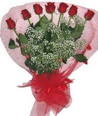 7 adet kipkirmizi gülden görsel buket  cicekci Bursa inegöl çiçek mağazası , çiçekçi adresleri