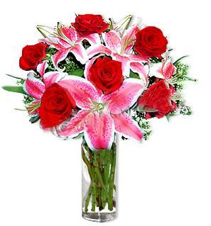 Bursa çiçek yolla nilüfer çiçek gönderme  1 dal cazablanca ve 6 kırmızı gül çiçeği