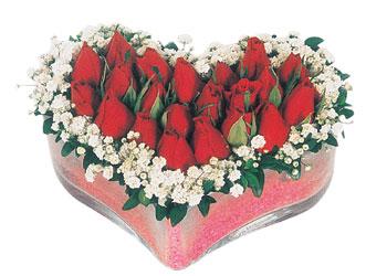 Bursa çiçekçi osman gazi çiçek gönderme sitemiz güvenlidir  mika kalpte kirmizi güller 9