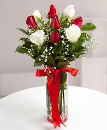 5 kırmızı 4 beyaz gül vazoda  Bursa çiçek gönderimi nilüfer cicekciler , cicek siparisi