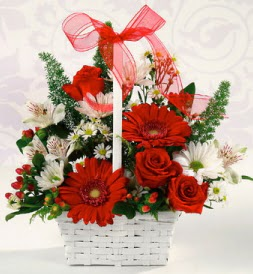 Karışık rengarenk mevsim çiçek sepeti  Bursa inegöl kaliteli taze ve ucuz çiçekler