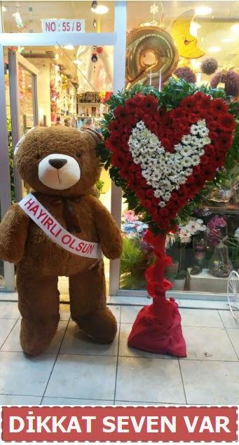 1.5 Metre peluş ayı ve Kalp  çiçek siparişi Bursa karacabey çiçek yolla