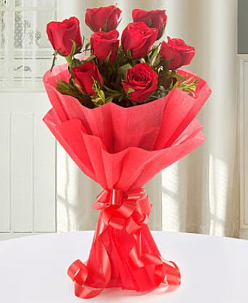 9 adet kırmızı gülden modern buket  Bursadaki çiçekçiler karacabey çiçekçi telefonları