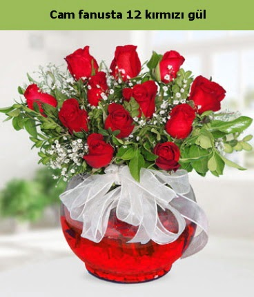 Cam içerisinde 12 adet kırmızı gül  Bursa osmangazi internetten çiçek satışı