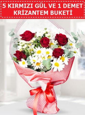 5 adet kırmızı gül ve krizantem buketi  Bursaya çiçek yolla orhangazi çiçek satışı