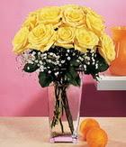Bursa osmangazi internetten çiçek satışı  9 adet sari güllerden cam yada mika vazo