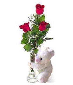 oyuncak ve 3 adet gül  Bursa çiçek gönder nilüfer çiçek siparişi vermek
