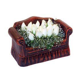seramik içerisinde 11 gül  çiçekçi Bursa nilüfer hediye çiçek yolla