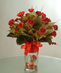 yapay güllerden vazo  9 gül  Bursa inegöl çiçek servisi , çiçekçi adresleri