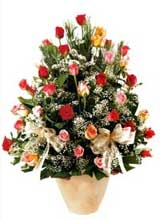 91 adet renkli gül aranjman   çiçek siparişi Bursa karacabey çiçek yolla
