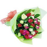 12 adet renkli gül buketi   çiçek siparişi Bursa karacabey çiçek yolla