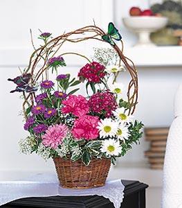 Bursa çiçek gönderimi nilüfer cicekciler , cicek siparisi  sepet içerisinde karanfil gerbera ve kir çiçekleri