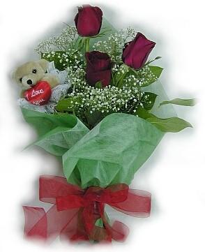 3 adet gül ve küçük ayicik buketi  çiçekçiler Bursa online çiçek gönderme sipariş