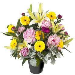 karisik mevsim çiçeklerinden vazo tanzimi  Bursa inegöl çiçek servisi , çiçekçi adresleri