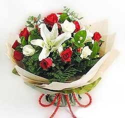 güller ve kazablanklardan görsel bir buket  Bursa osmangazi internetten çiçek satışı