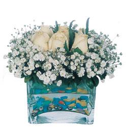 Bursa orhangazi internetten çiçek siparişi  mika yada cam içerisinde 7 adet beyaz gül