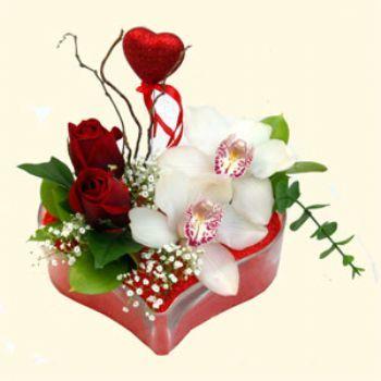 Bursa büyük orhan yurtiçi ve yurtdışı çiçek siparişi  1 kandil orkide 5 adet kirmizi gül mika kalp