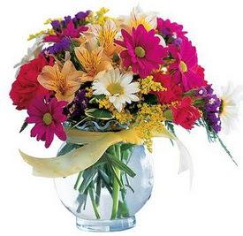 Bursa osmangazi internetten çiçek satışı  cam yada mika içerisinde karisik mevsim çiçekleri