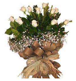 Bursa çiçekçi osman gazi çiçek gönderme sitemiz güvenlidir  9 adet beyaz gül buketi