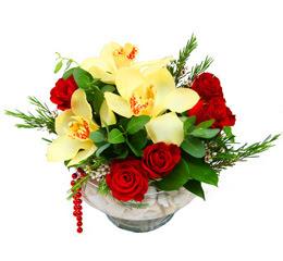 Bursa çiçek nilüfer İnternetten çiçek siparişi  1 adet orkide 5 adet gül cam yada mikada