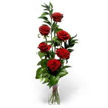 Bursa çiçek gönder nilüfer çiçek siparişi vermek  cam yada mika vazo içerisinde 6 adet kirmizi gül
