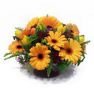 gerbera ve kir çiçek masa aranjmani  çiçek Bursa yenişehir çiçekçi mağazası