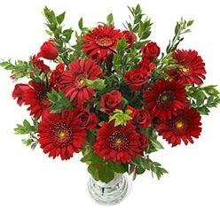5 adet kirmizi gül 5 adet gerbera aranjmani  çiçekçi Bursa nilüfer hediye çiçek yolla