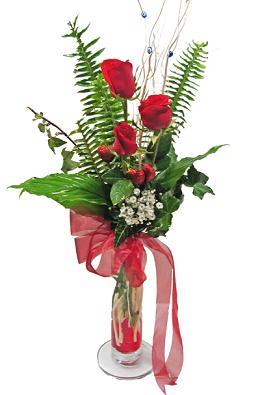 Çiçek gönderin cam vazoda 3 gül çiçekleri  Bursa çiçek gönder nilüfer çiçek siparişi vermek