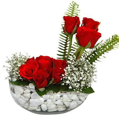 cam içerisinde 9 adet kirmizi gül  çiçek Bursa yenişehir çiçekçi mağazası