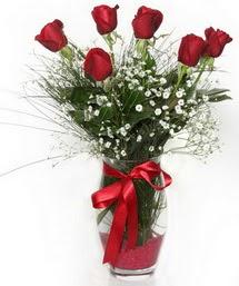 7 adet gülden cam içerisinde güller  Bursa çiçek siparişi karacabey 14 şubat sevgililer günü çiçek