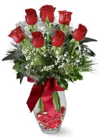 7 adet vazoda gül  Bursa osmangazi internetten çiçek satışı  kirmizi gül