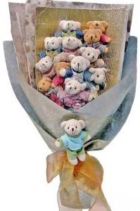 12 adet ayiciktan buket tanzimi  çiçekçiler Bursa online çiçek gönderme sipariş