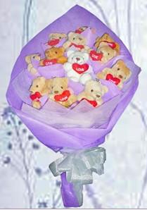 12 adet ayiciktan buket tanzimi  Bursa iznik hediye sevgilime hediye çiçek