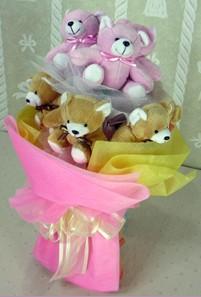 8 adet ayiciktan buket  çiçekçiler Bursa online çiçek gönderme sipariş