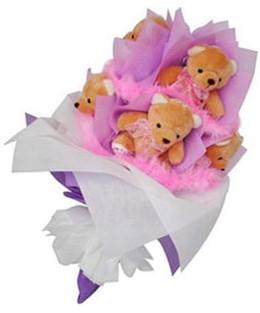 9 adet ayiciktan buket  Bursa büyük orhan yurtiçi ve yurtdışı çiçek siparişi