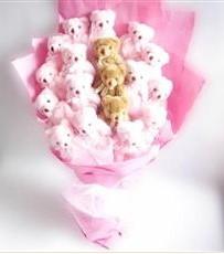 17 adet pelus ayicik buketi  Bursadaki çiçekçiler karacabey çiçekçi telefonları