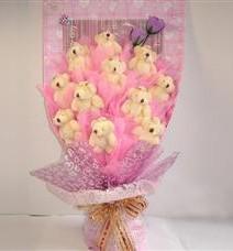 11 adet pelus ayicik buketi  Bursa çiçek yolla nilüfer çiçek gönderme
