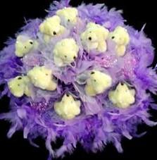 11 adet pelus ayicik buketi  Bursada çiçekçi osmangazi çiçek , çiçekçi , çiçekçilik