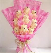 9 adet pelus ayicik buketi  Bursa osmangazi online çiçekçi , çiçek siparişi