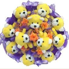 11 adet pelus ayicik buketi  cicekci Bursa inegöl çiçek mağazası , çiçekçi adresleri