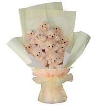 11 adet pelus ayicik buketi  online Bursa ucuz çiçek gönder