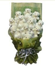 11 adet pelus ayicik buketi  Bursa ya çiçek yolla mudanya cicek , cicekci