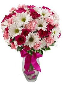 Bursa çiçek gönder nilüfer çiçek siparişi vermek  Karisik mevsim kir çiçegi vazosu
