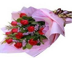 11 adet kirmizi güllerden görsel buket  çiçek siparişi Bursa karacabey çiçek yolla