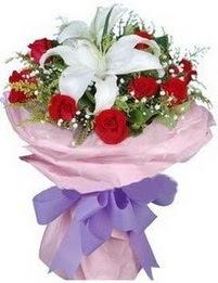 9 adet kirmizi gül 1 adet kazablanka buketi  Bursa orhangazi internetten çiçek siparişi