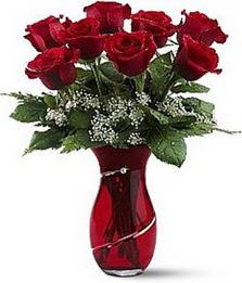 Vazo içinde 8 adet kirmizilar içinde güller  Bursa inegöl kaliteli taze ve ucuz çiçekler