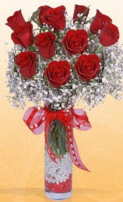 10 adet kirmizi gülden vazo tanzimi  Bursa çiçek gönder nilüfer çiçek siparişi vermek